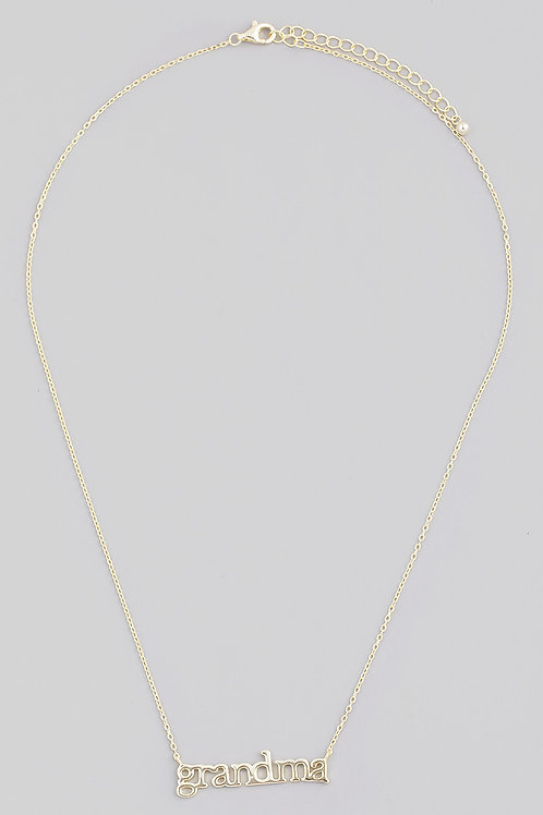 Gold Sterling Silver Grandma Print Necklace