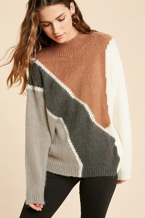 Camel/Charcoal Mock Neck Sweater