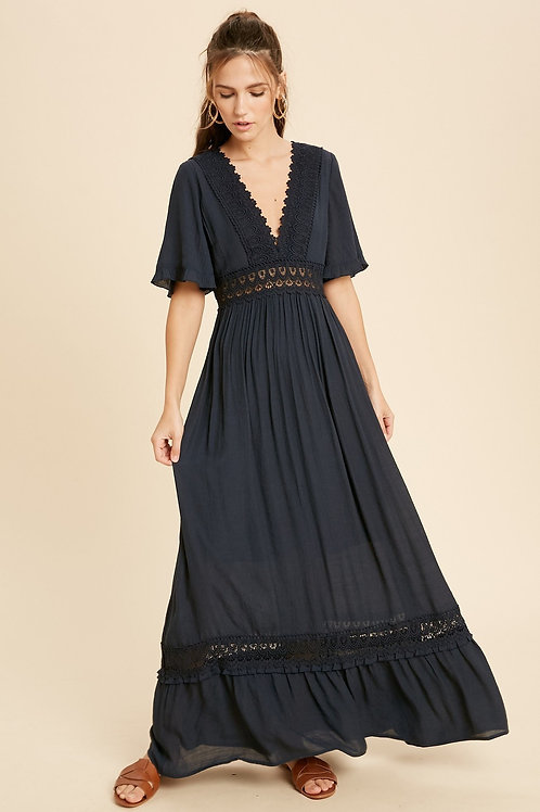 Navy Crochet Lace Maxi Dress