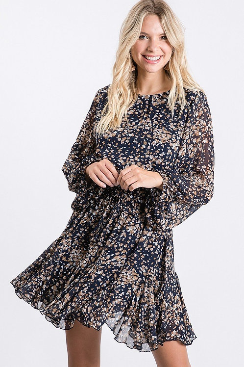 Navy Print Babydoll Dress