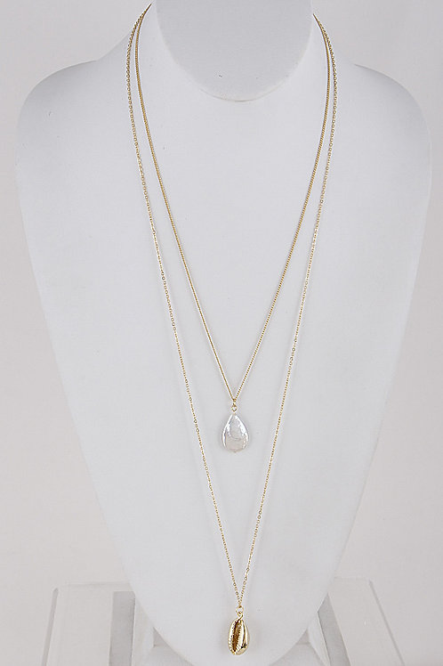 Layered Shell + Pearl Necklace