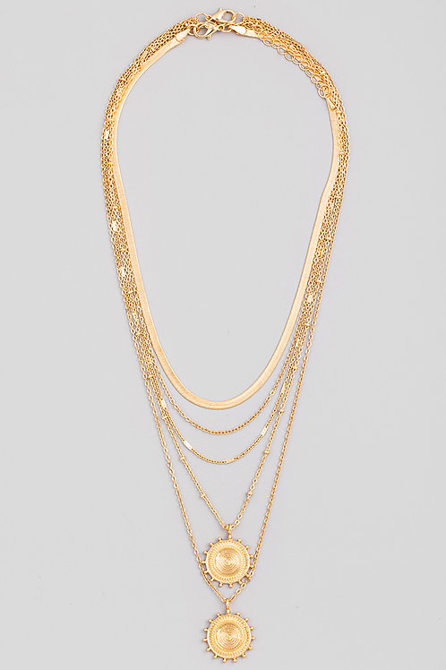 Gold Chain Layered Sun Disc Pendant Necklace