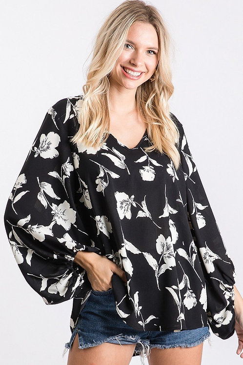 Black Floral w/ Bubble Sleeves