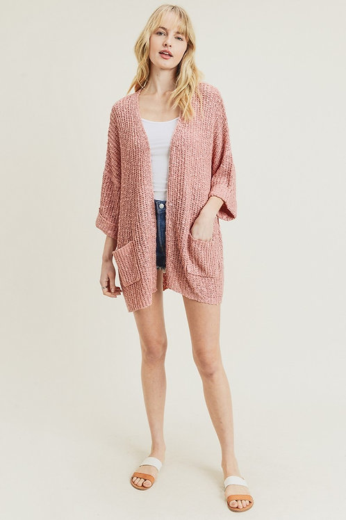 Mauve Loose Knit Cardigan