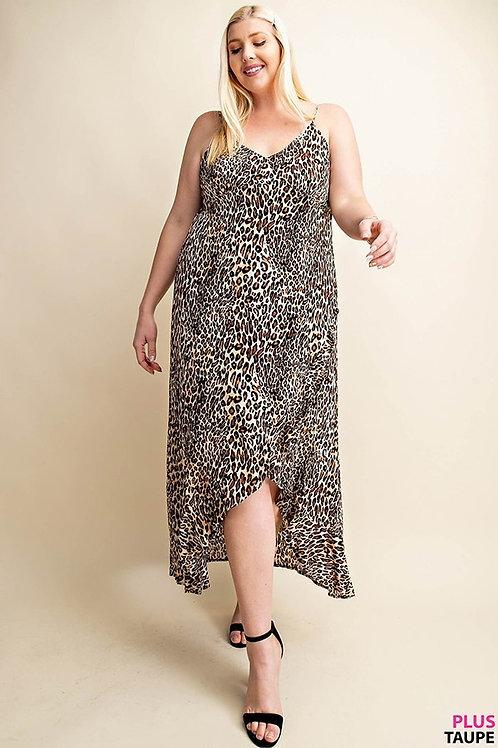 PLUS // Animal Print Ruffle Dress