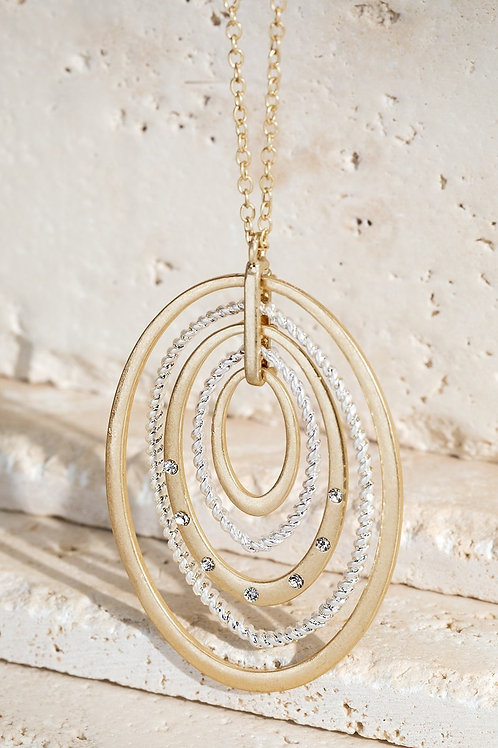 Gold & Silver Oval Pendant Necklace