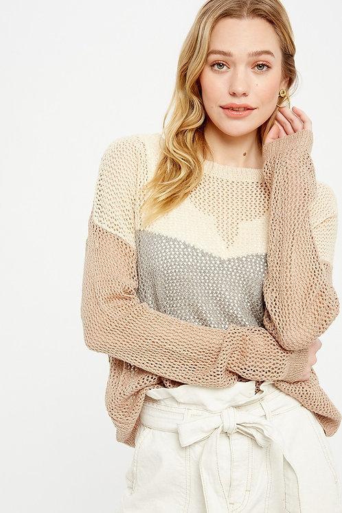 Taupe Stripe Knit Sweater