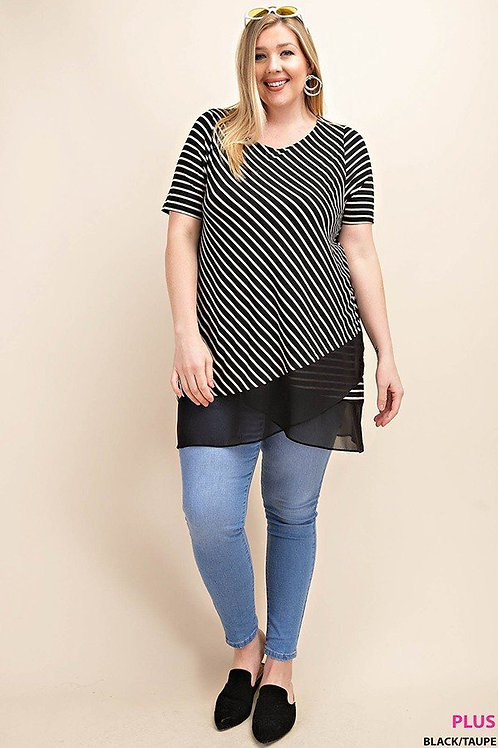 PLUS // Black White Stripe Top