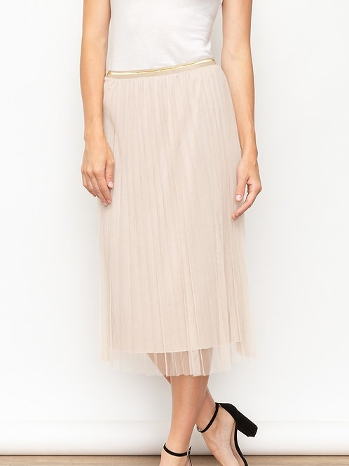 Beige Reversible Tulle + Velvet Pleated Skirt