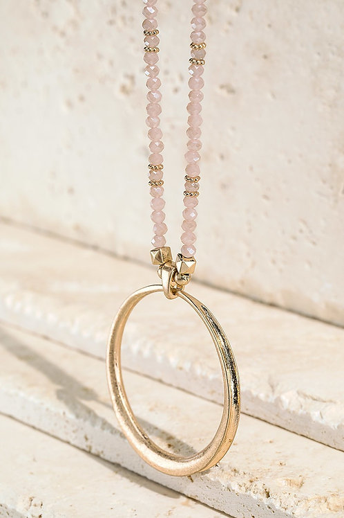 Blush Beaded Ring Necklace