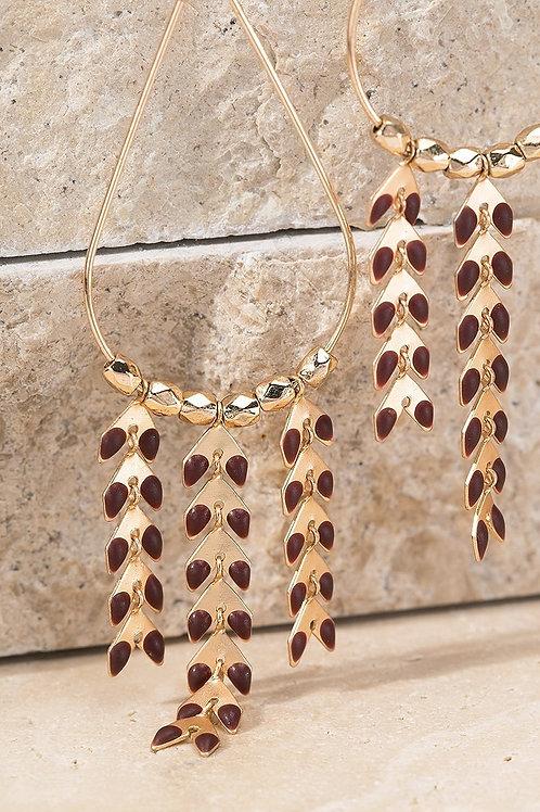 Burgundy/Gold Earrings