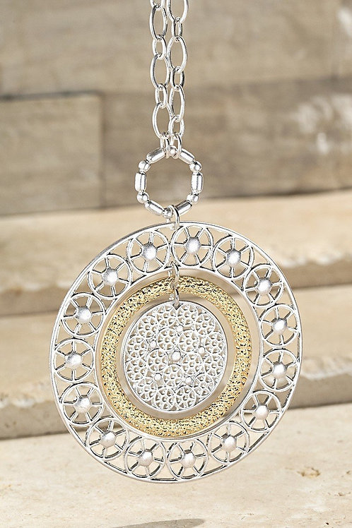 Silver & Gold Round Filigree Necklace