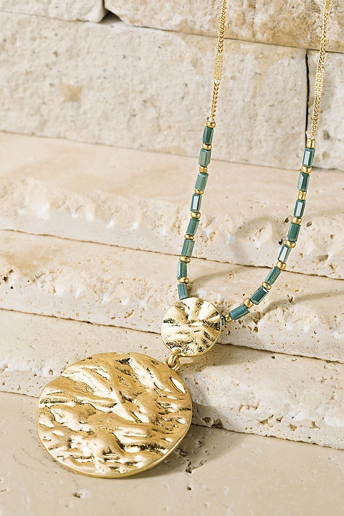 Teal Beaded Necklace w/ Pendant