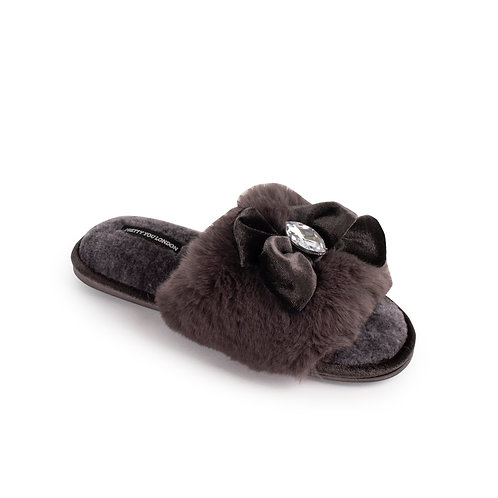 Charcoal Faux Fur Slippers