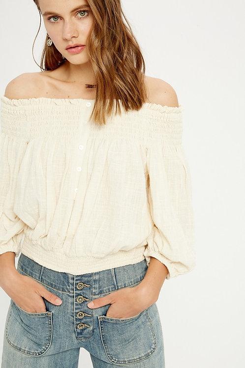 Cream Cotton Off-the-shoulder Blouse