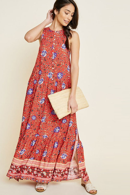 Red Floral Long Dress