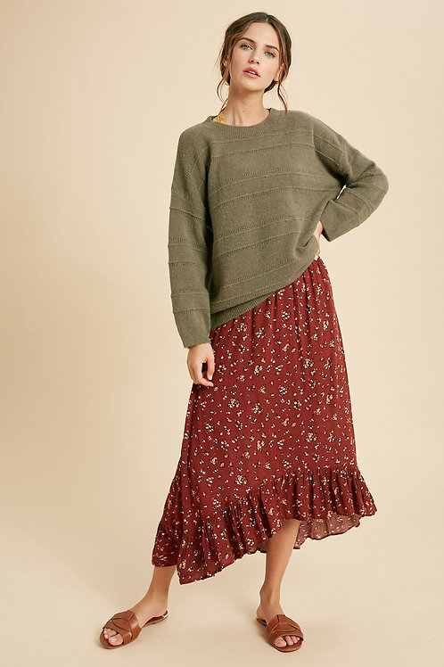 Olive Mohair Pullover Sweater