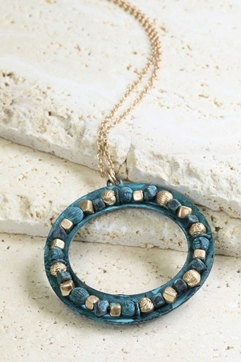 Patina Round Long Necklace