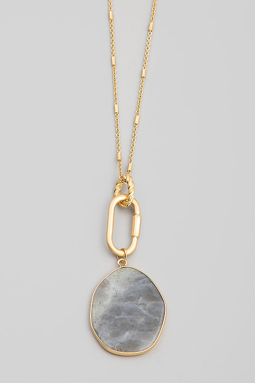 Grey Oval Stone Disc Pendant Necklace