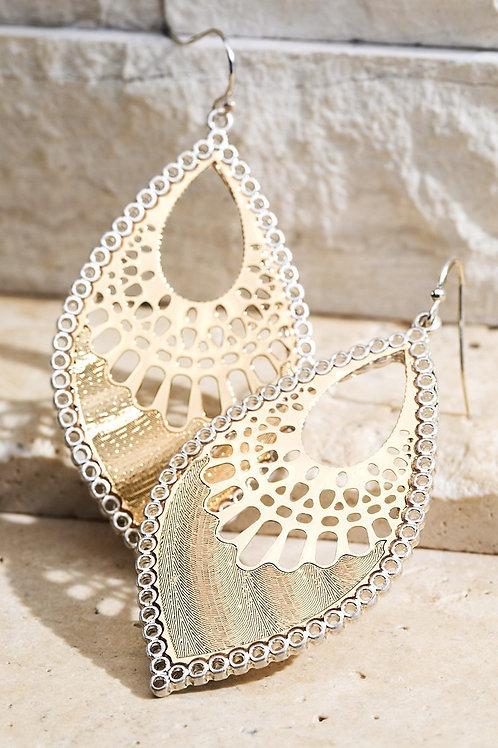 Silver & Gold Lattice Earring