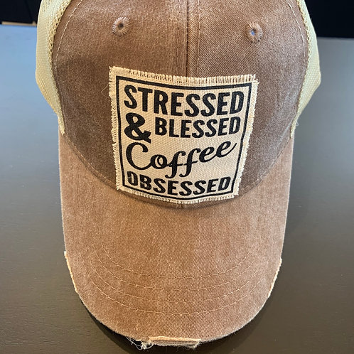 Stressed, Blessed & Coffee Obsessed Baseball Cap