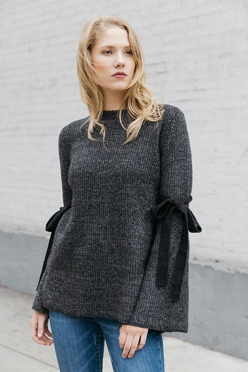 Charcoal Sweater w/ Tie Bell Sleeves