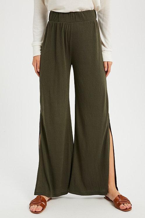 Olive Side Slit Lounge Pant