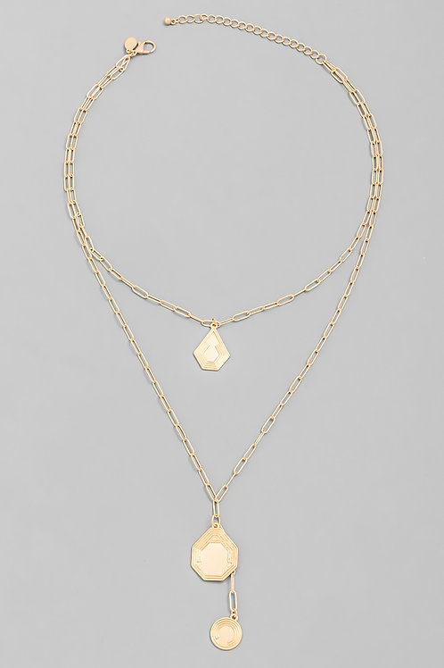Gold Geo Shape Chainlink Necklace