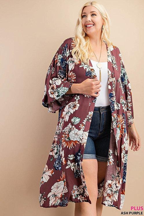 PLUS // Ash Purple Floral Kimono