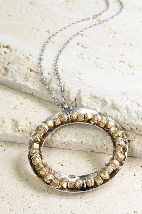 Silver Round Long Necklace