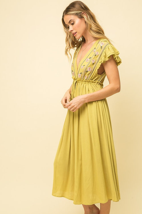 Lime Embroidered Dress