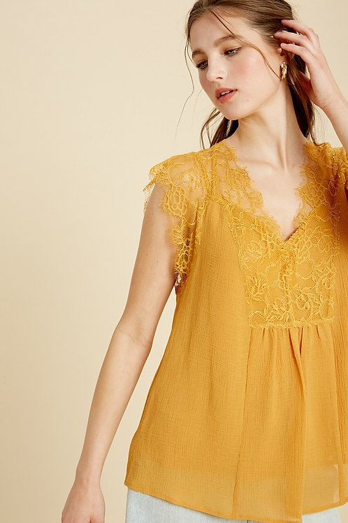 Mustard Lace Sleeveless Blouse