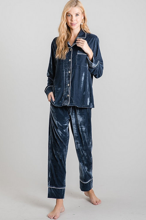 Blue Grey Velvet Pajamas