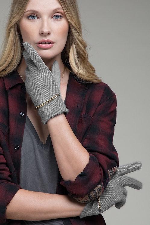 Grey Herringbone Gloves