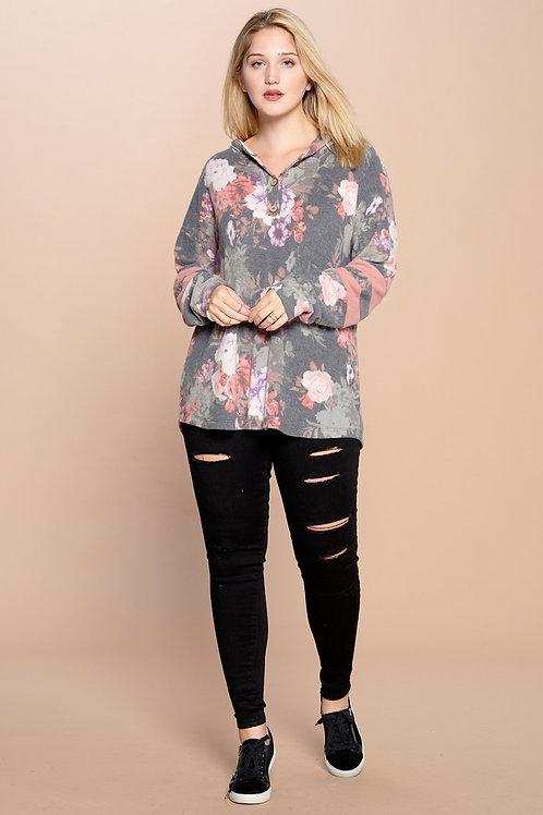 PLUS // Cozy Floral Sweatshirt