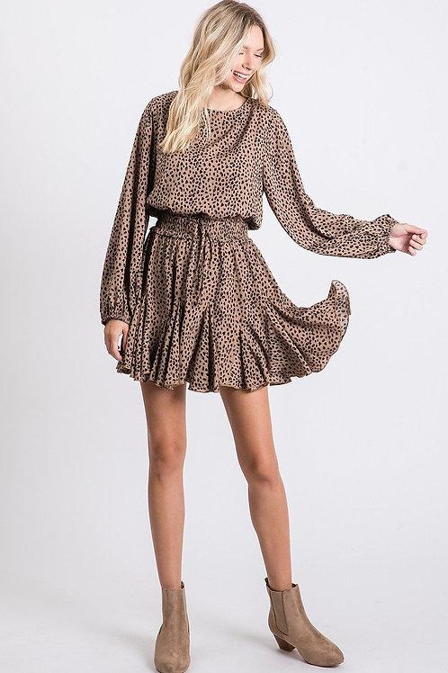 Taupe Leopard Print Babydoll Dress