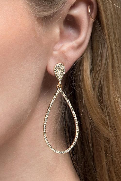 Gold Rhinestone Tear Drop Earrings