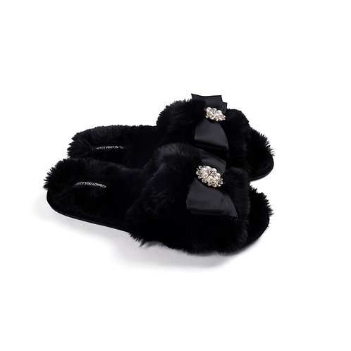 Black Faux Pearl Slippers
