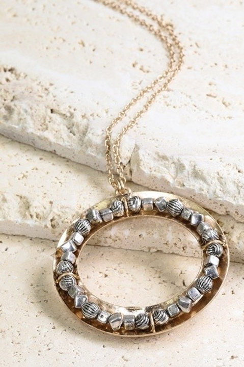 Gunmetal Round Long Necklace