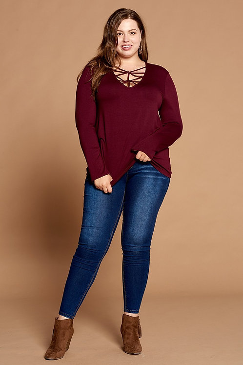 PLUS // Burgundy Criss Cross Top