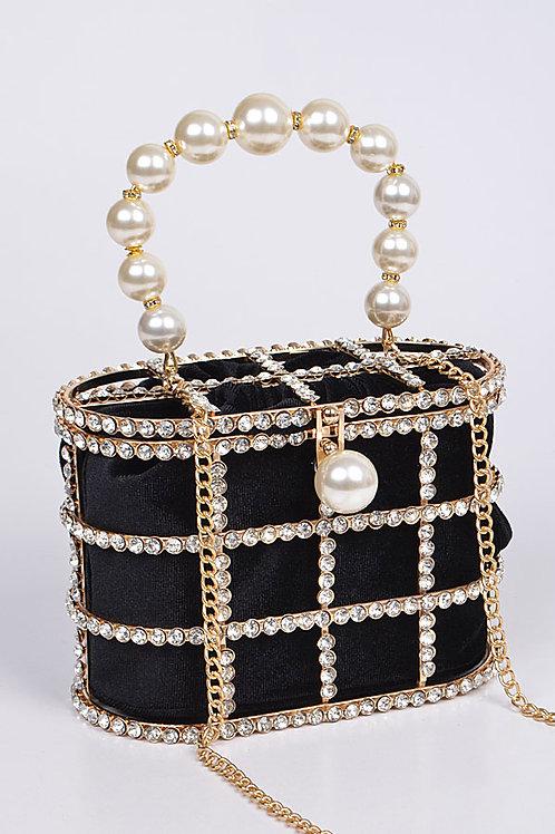 Rhinestone + Pearl Evening Bag