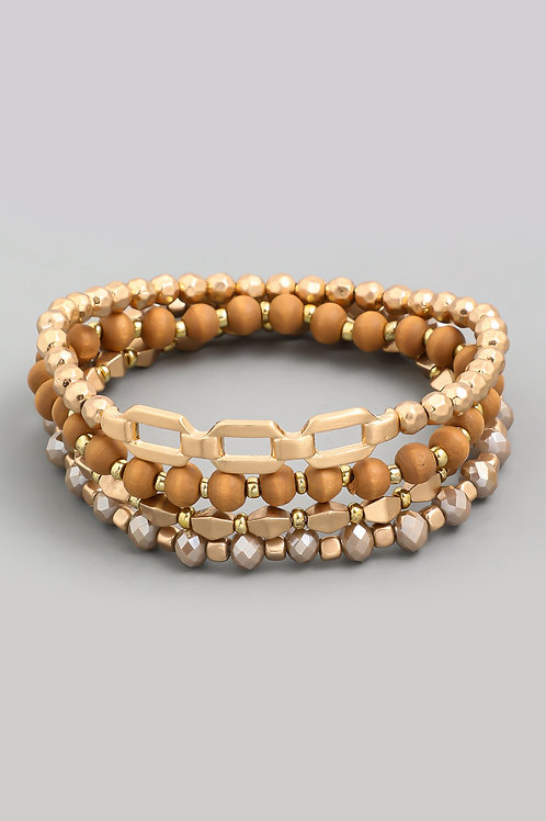 Chain Link Brown Beaded Bracelet Set
