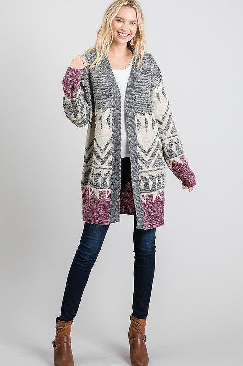 Grey Purple Aztec Sweater