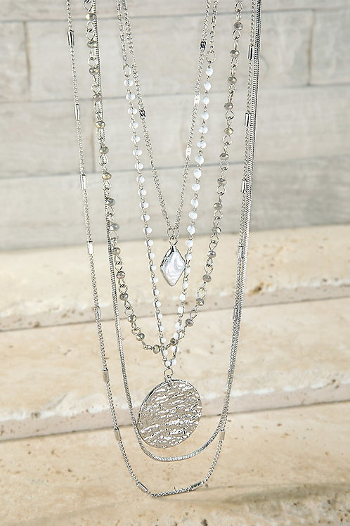 Layered White & Silver Necklace