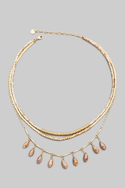 Mocha Beaded Layered Necklace