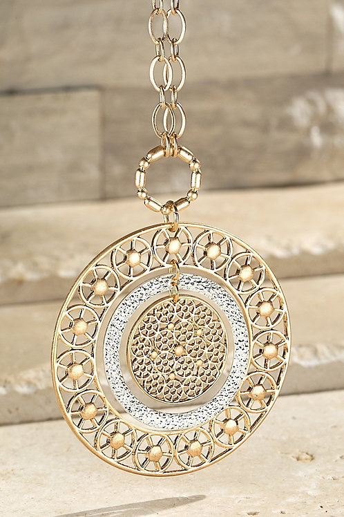 Gold & Silver Round Filigree Necklace