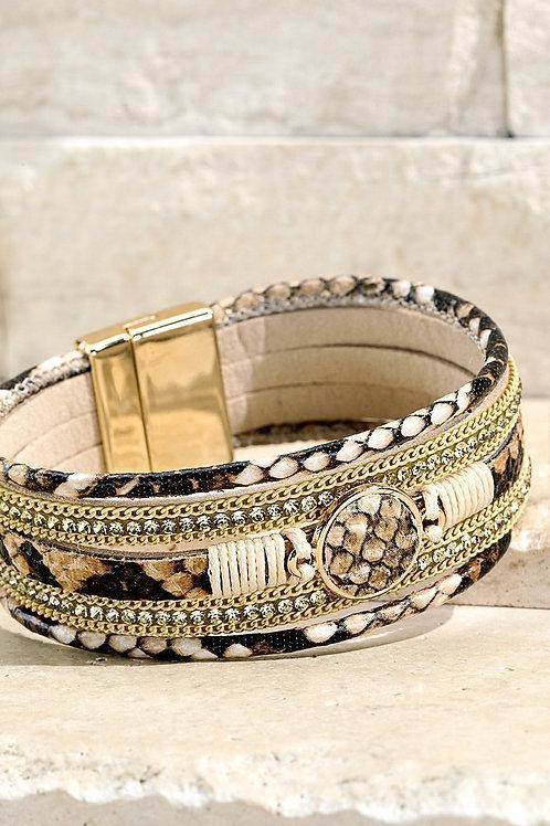 Beige Reptile Magnetic Bracelet