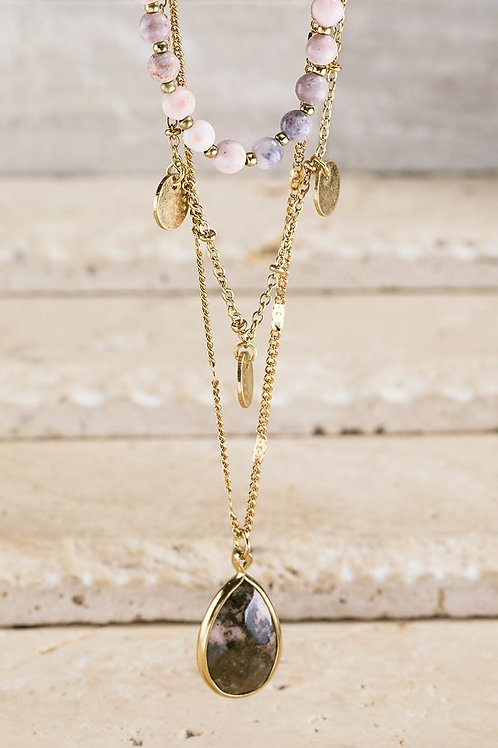 Pink Stones Layered Necklace