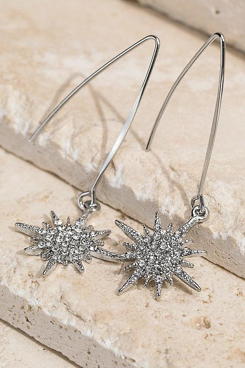 Silver Starburst Dangle Earrings