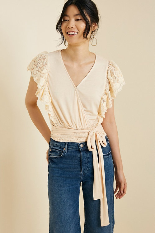 Cropped Blush Lace Top